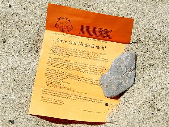 "FLIERS ARE BEING DISTRIBUTED TO ""SAVE"" ONE OF CALIFORNIA'S LAST NUDE BEACHES"